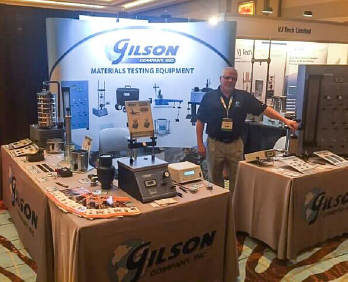 "gilson exhibit booth at geotechnical annual conference"" style="