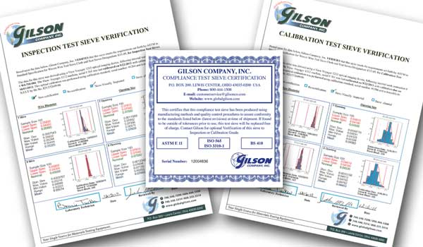 Gilson Verification Certificates