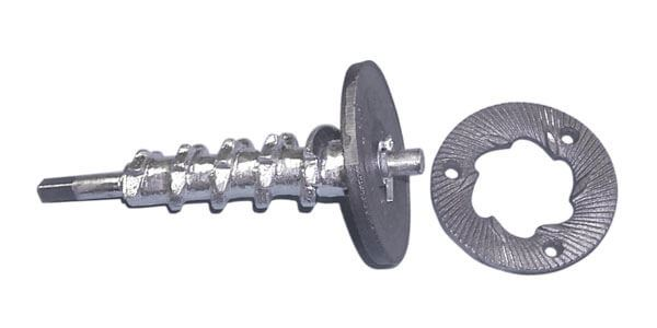 Dry-Feed Auger & Grinding Disc Set for Hand-Crank Disc Mill