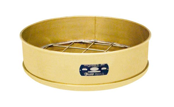 "18"" Sieve, Brass/Stainless, Full Height, 3/8"""
