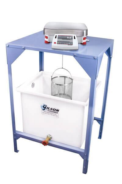 Specific Gravity Bench  shown with optional 30 Gallon Water Tank, Ohaus Balance & Wire Basket