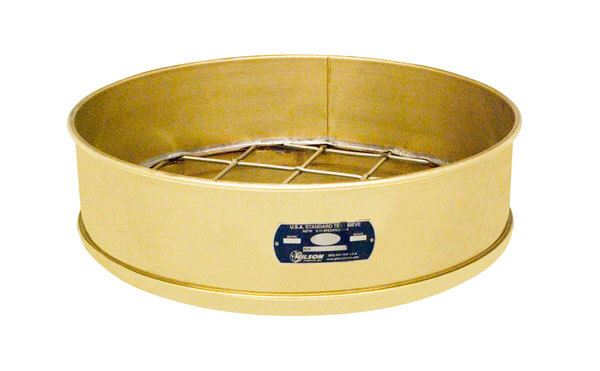"18"" Sieve, Brass/Stainless, Full Height, No. 200 with Backing Cloth"