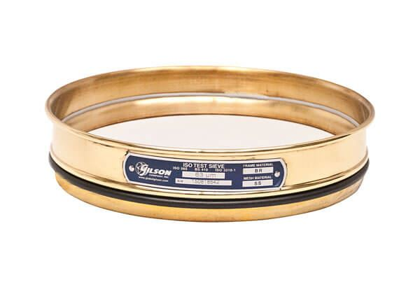200mm Sieve, Brass/Stainless, Half Height, 56µm with Backing Cloth