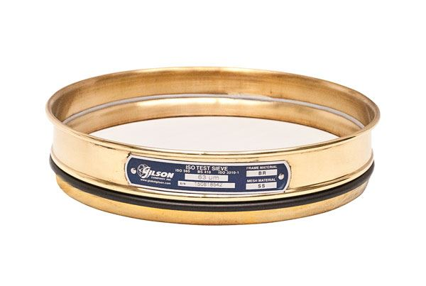 200mm Sieve, Brass/Stainless, Half Height, 25µm with Backing Cloth