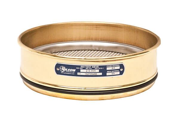 200mm Sieve, Brass/Stainless, Full Height, 25µm with Backing Cloth
