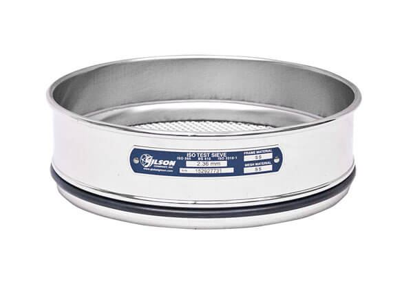 200mm Sieve, All Stainless, Full Height, 160µm with Backing Cloth