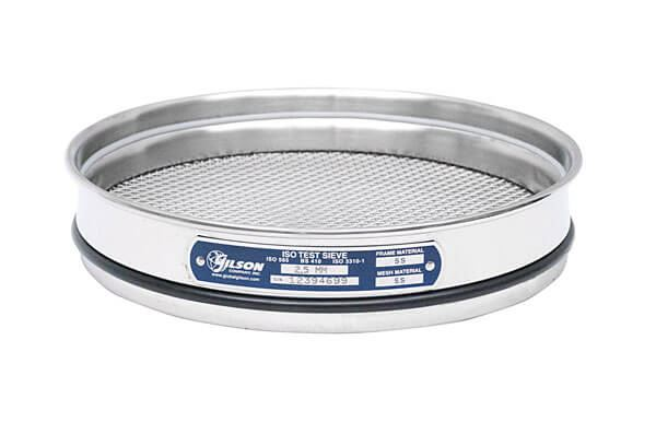 200mm Sieve, All Stainless, Half Height, 63µm with Backing Cloth