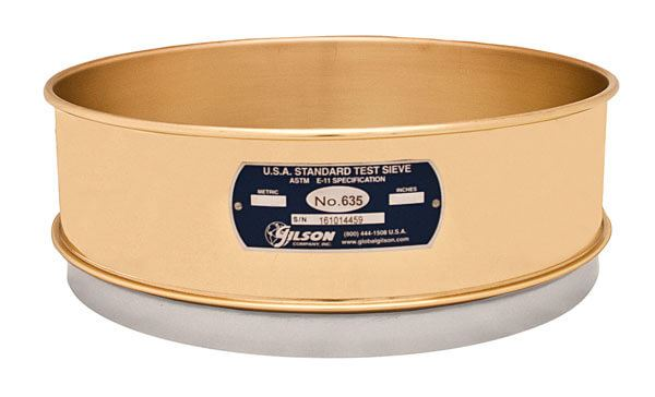 """12"""" Sieve, Brass/Stainless, Full Height, No. 635 with Backing Cloth"""