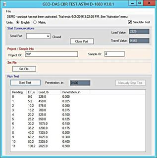 Geotechnical Data Acquisition Software (GEO-DAS) for CBR / LBR