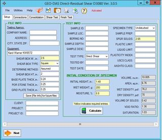Geotechnical Data Acquisition Software (GEO-DAS) for Direct Shear