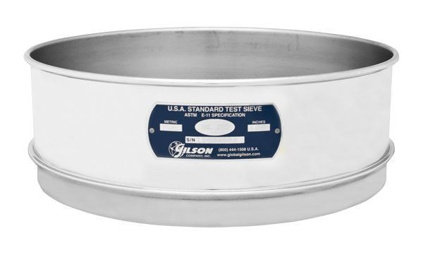 """12"""" Sieve, All Stainless, Full Height, 630µm"""
