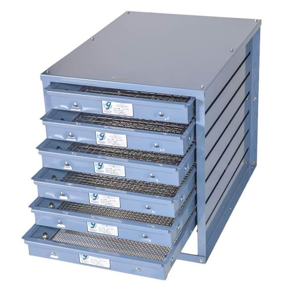 Screen Tray Storage Rack stores up to seven screen trays for Gilson Testing Screens and TestMaster® (Trays not included)