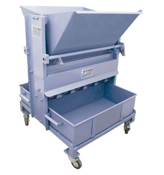California Sample Splitter with two 1.2ft³ (34L) capacity steel sample pans
