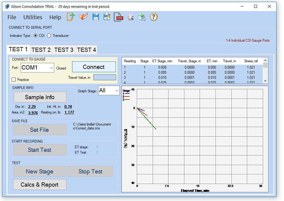 Consolidation Data Acquisition Software