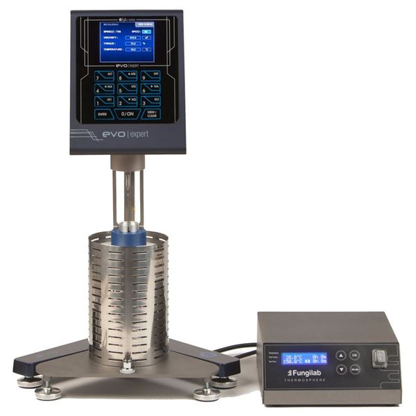 EVO Viscometer shown with Chamber Support and Temperature Controller