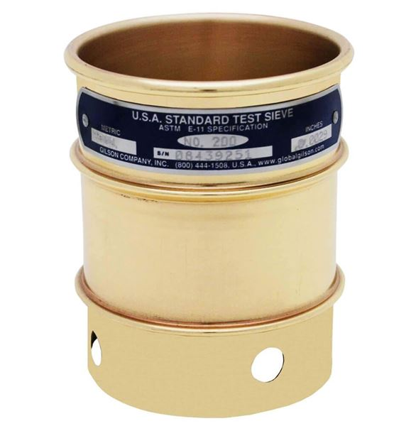 """3""""  Sieve, Brass/Stainless, 4"""" Deep, #200 with Backing Cloth"""