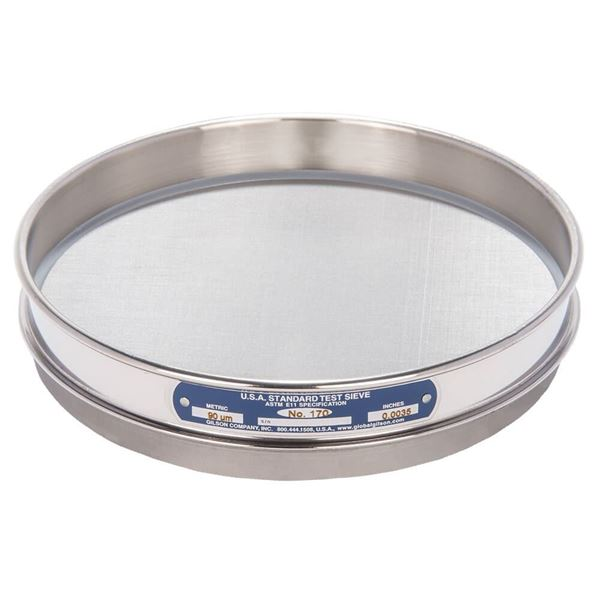 """8"""" Sieve, All Stainless, Half Height, No. 170 with Backing Cloth"""