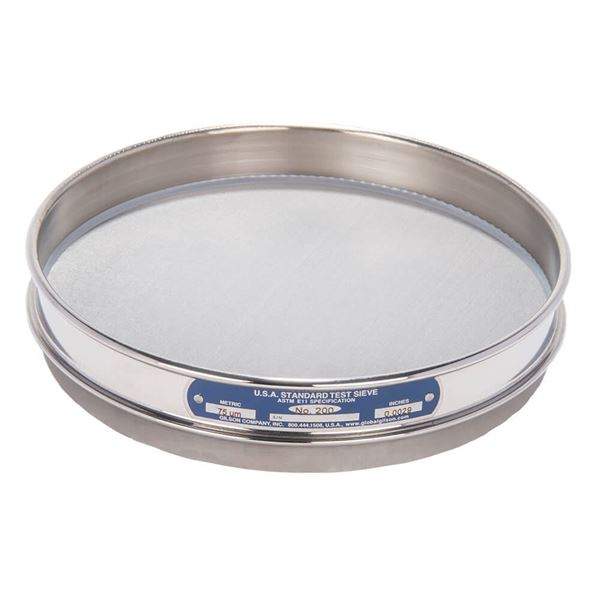 """8"""" Sieve, All Stainless, Half Height, No. 200"""