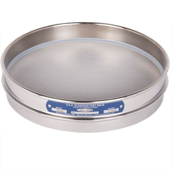 """8"""" Sieve, All Stainless, Half Height, No. 200 with Backing Cloth"""