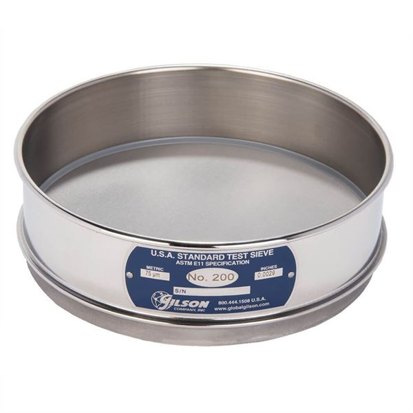"""8"""" Sieve, All Stainless, Full Height, No. 200 with Backing Cloth"""