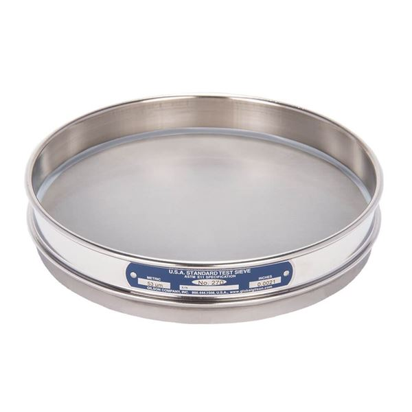 """8"""" Sieve, All Stainless, Half Height, No. 270 with Backing Cloth"""