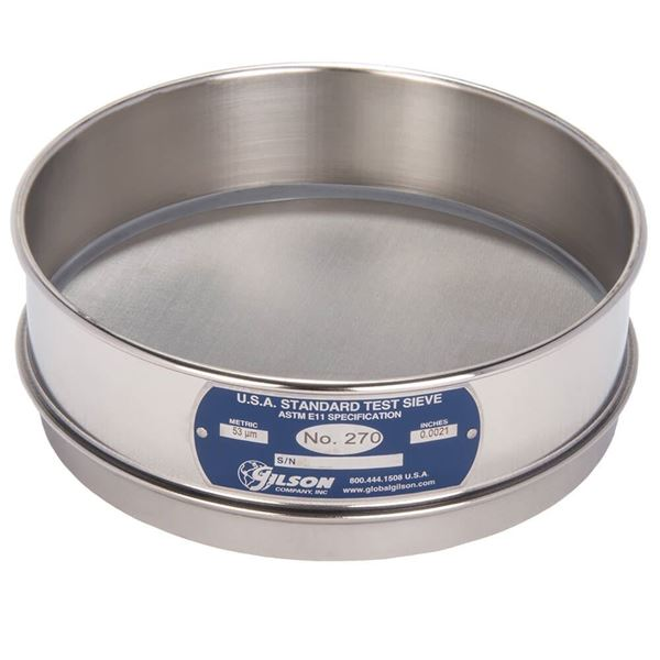 """8"""" Sieve, All Stainless, Full Height, No. 270 with Backing Cloth"""