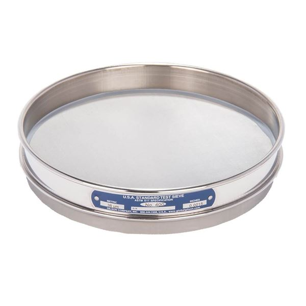 """8"""" Sieve, All Stainless, Half Height, No. 400 with Backing Cloth"""