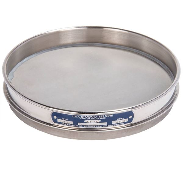 """8"""" Sieve, All Stainless, Half Height, No. 450 with Backing Cloth"""