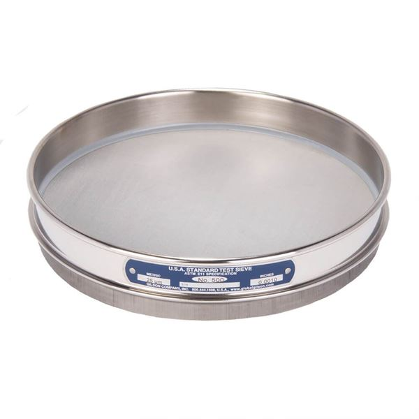 """8"""" Sieve, All Stainless, Half Height, No. 500 with Backing Cloth"""