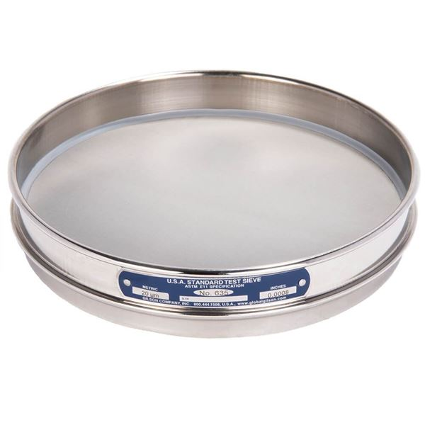 """8"""" Sieve, All Stainless, Half Height, No. 635 with Backing Cloth"""