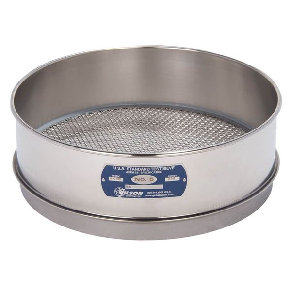 """12"""" Sieve, All Stainless, Full Height, No. 5"""