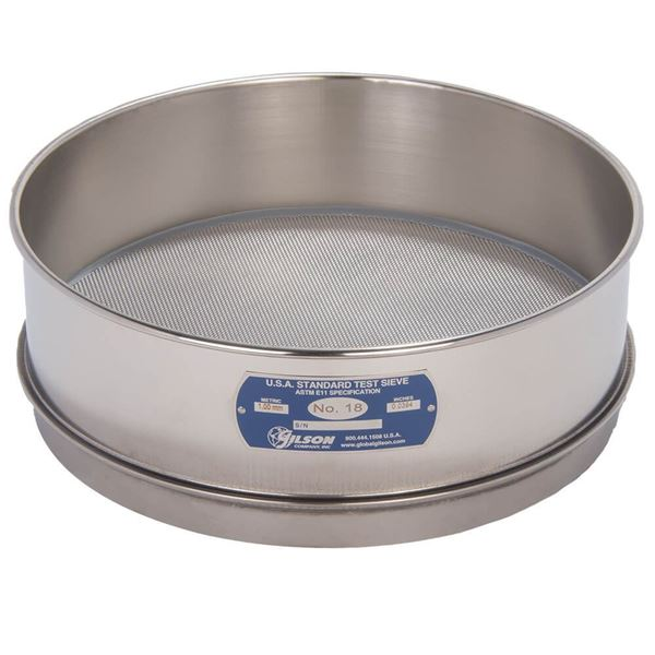 """12"""" Sieve, All Stainless, Full Height, No. 18"""