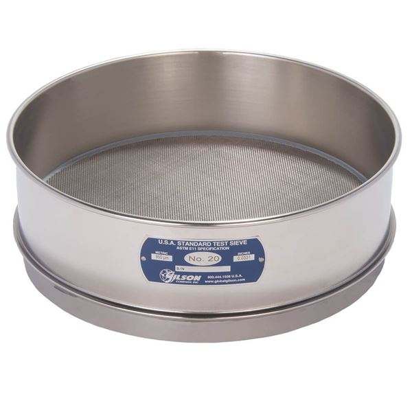 """12"""" Sieve, All Stainless, Full Height, No. 20"""