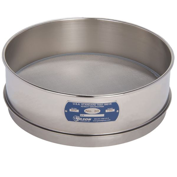 """12"""" Sieve, All Stainless, Full Height, No. 30"""