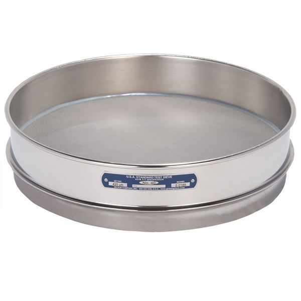 """12"""" Sieve, All Stainless, Intermediate Height, No. 40"""