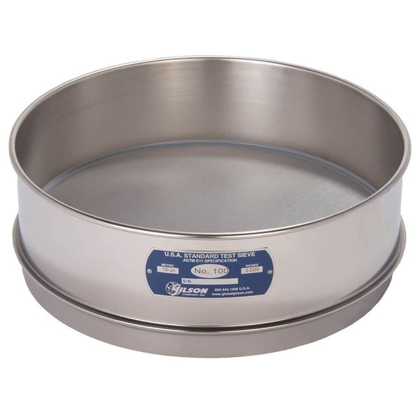 """12"""" Sieve, All Stainless, Full Height, No. 100 with Backing Cloth"""