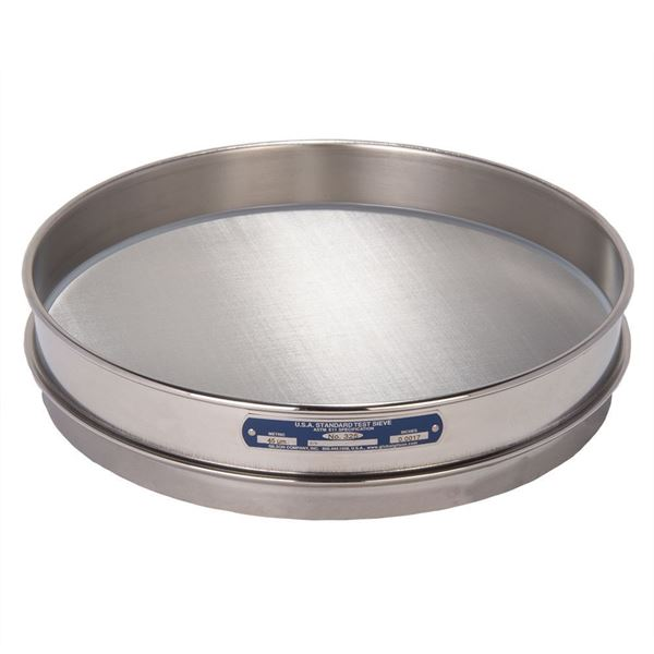 """12"""" Sieve, All Stainless, Half Height, No. 325 with Backing Cloth"""