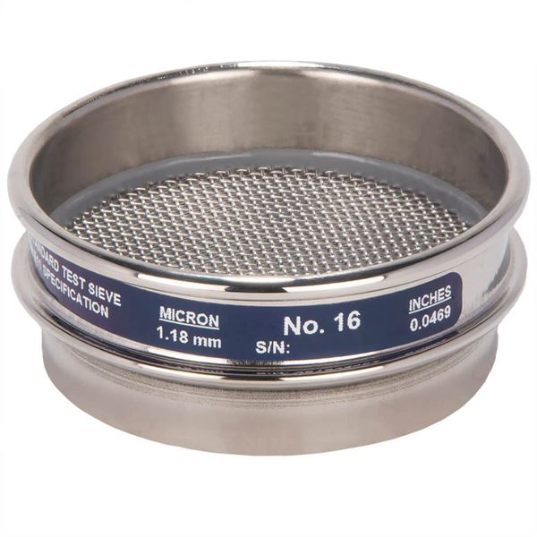 """3"""" Sieve, All Stainless, Half Height, No. 16"""