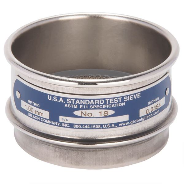 """3"""" Sieve, All Stainless, Full Height, No. 18"""