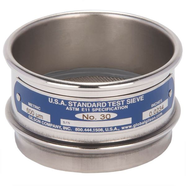 """3"""" Sieve, All Stainless, Full Height, No. 30"""
