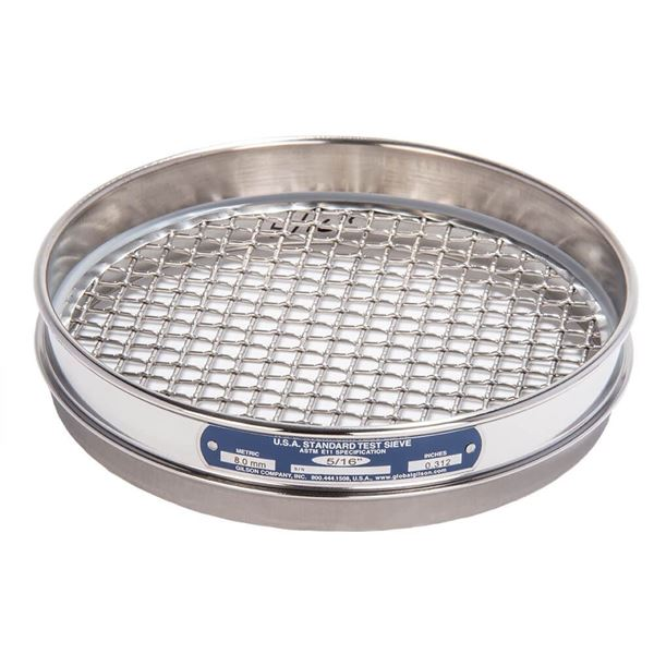 """8"""" Sieve, All Stainless, Half Height, 5/16"""""""