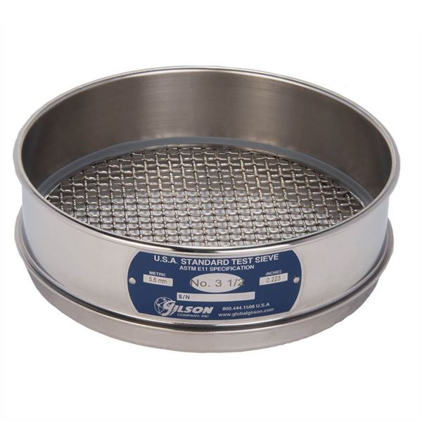 """8"""" Sieve, All Stainless, Full Height, No. 3-1/2"""