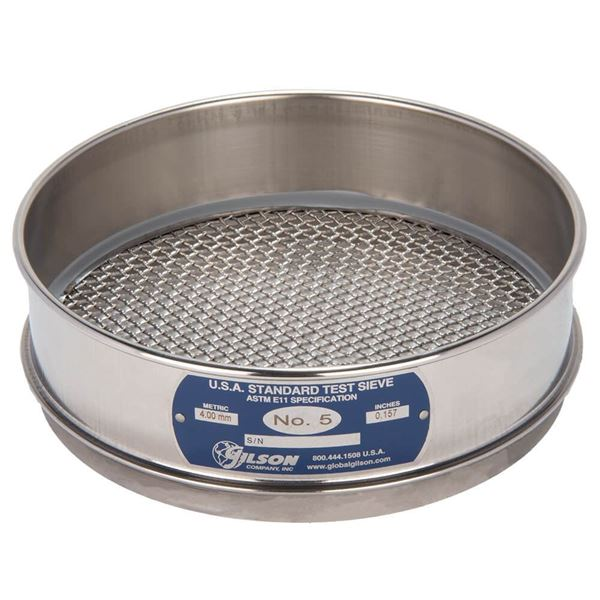 """8"""" Sieve, All Stainless, Full Height, No. 5"""
