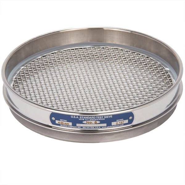 """8"""" Sieve, All Stainless, Half Height, No. 5"""