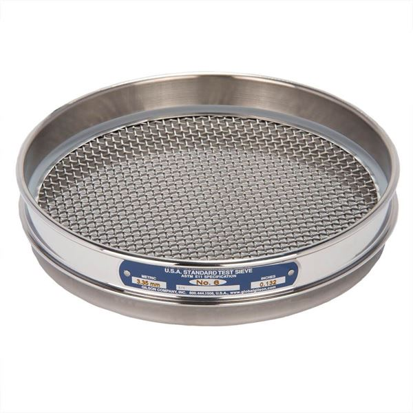 """8"""" Sieve, All Stainless, Half Height, No. 6"""