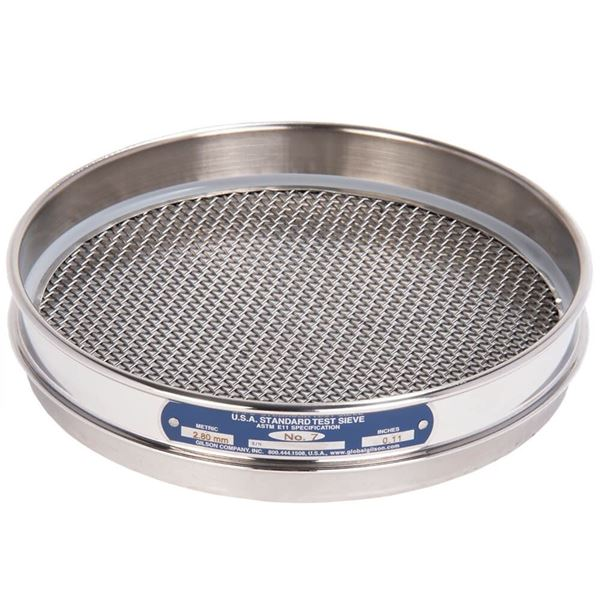 """8"""" Sieve, All Stainless, Half Height, No. 7"""