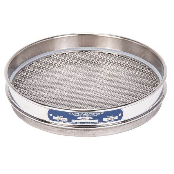 """8"""" Sieve, All Stainless, Half Height, No. 8"""