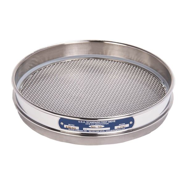 """8"""" Sieve, All Stainless, Half Height, No. 10"""