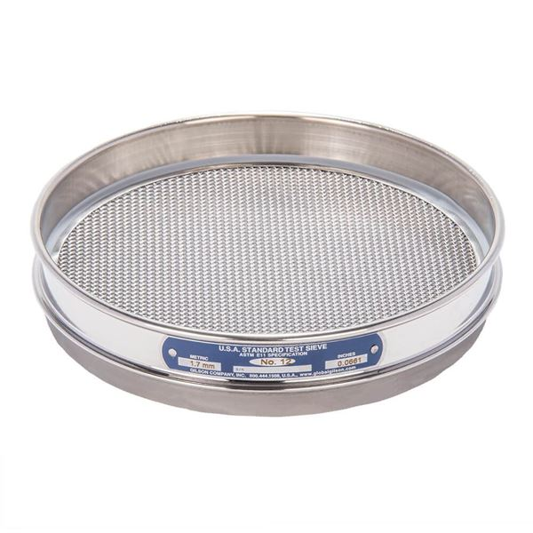 """8"""" Sieve, All Stainless, Half Height, No. 12"""