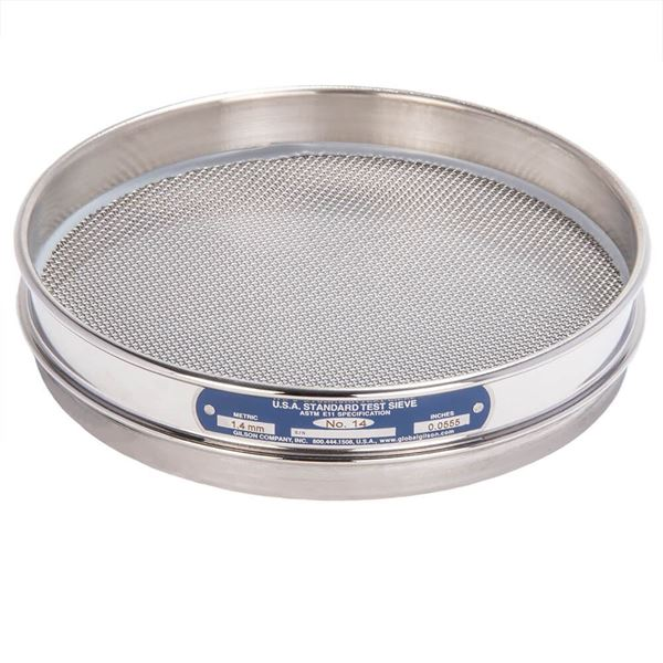 """8"""" Sieve, All Stainless, Half Height, No. 14"""